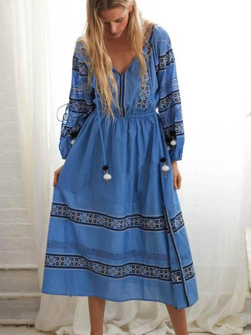Embroidered Tasseled Bohemia Maxi Dress