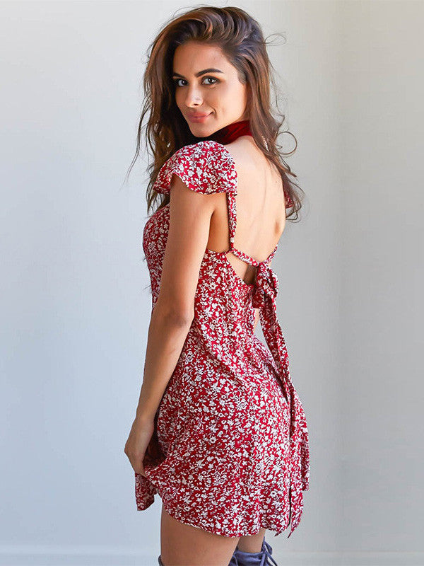 Sexy Short Sleeve Squar Neck Backless A Line Mini Dress
