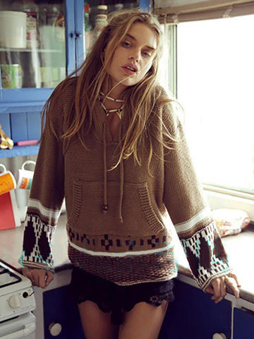 Bohemia Crochetgo Hooded Sweater Tops