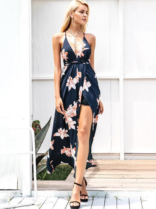 Printed Backless Split-side Maxi Dress