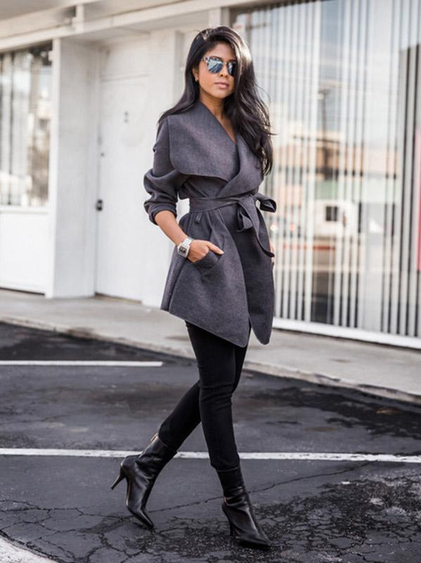 Solid Color Lapel Collar Belted Coat Tops