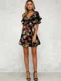 Floral Printed Falbala Belted Mini Dress