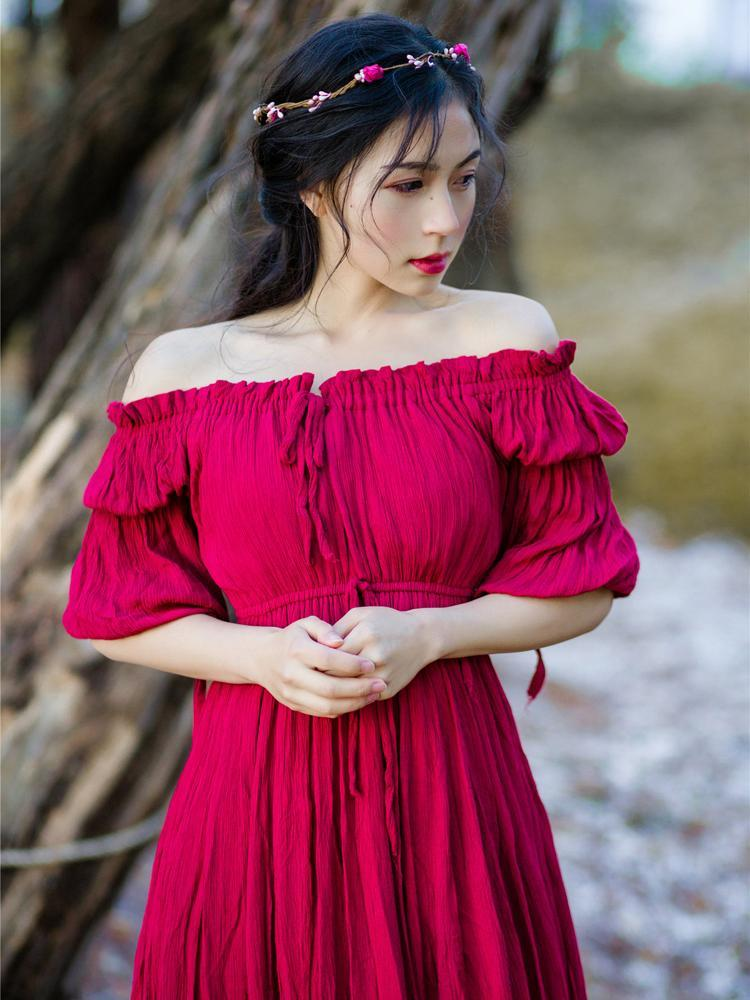Vintage Solid Color Off-the-shoulder Maxi Dress