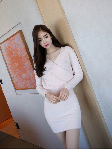 Sexy V Neck Long Sleeve Bodycon Slim Fit Mini Sweater Dress