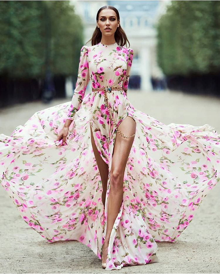 Pretty Bohemia Long-sleeve Split-Side Floral Maxi Dress