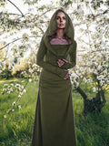Hooded Backless Long Sleeved  Maxi Forest Dress