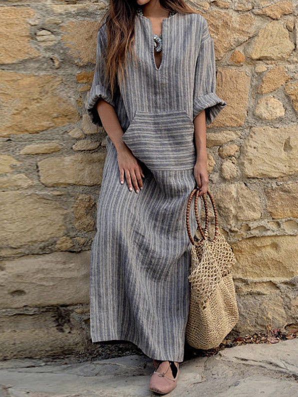 Striped Loose Ramie Cotton Maxi Dress