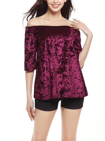 Elegant Velvet Solid Color Half Sleeve Off Shoulder Shirt Tops