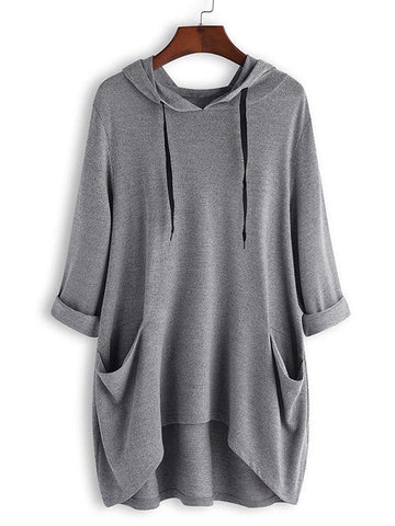 Long Sleeve Pocket Loose Casual Hoodie Irregular Large Size Blouse Hoodie for Ladies