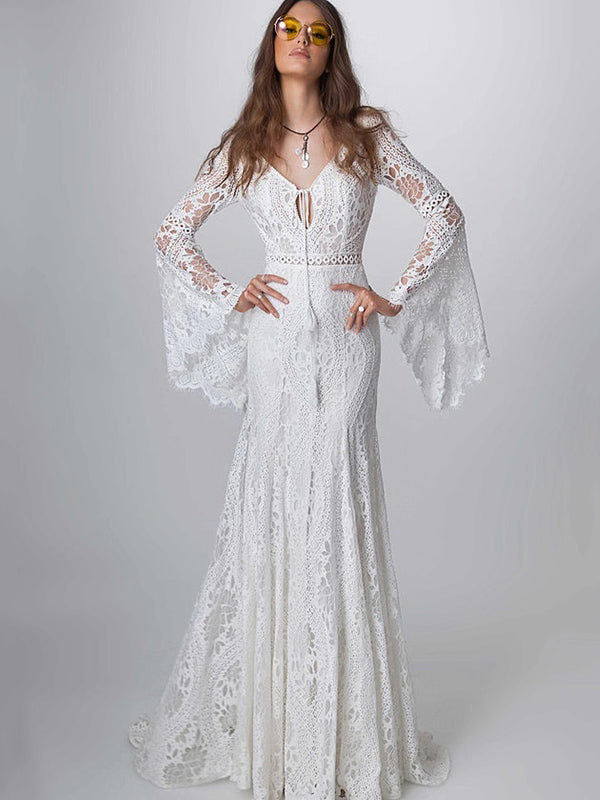 K'Mich Weddings - wedding planning - wedding dresses - lace hollow flared sleeves evening dresses - oshoplive
