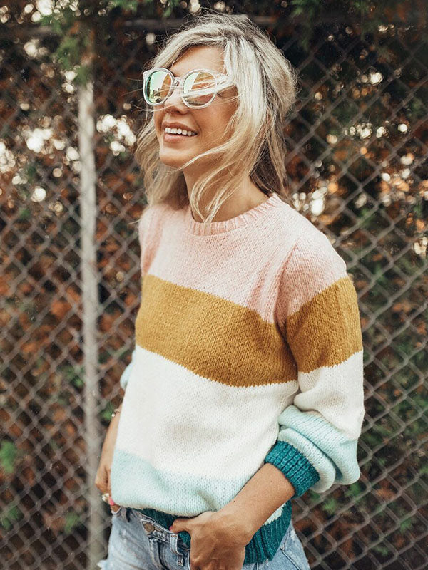 Fashion Knitting Striped Sweater Tops