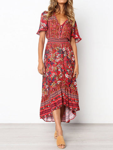 Printed Flared Sleeve Bohemian Flowers Maxi Dress