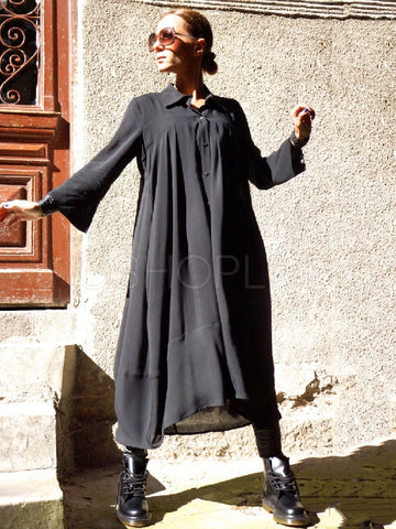 Black Split-joint Lapel Long Dress