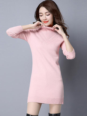 Pretty High Collar Long Sleeve Bodycon Slim Fit Mini Sweater Dress