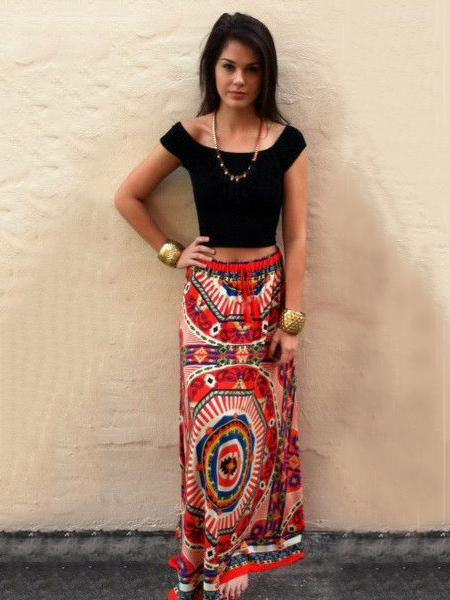 Bohemia Floral-printed Long Skirt Bottoms
