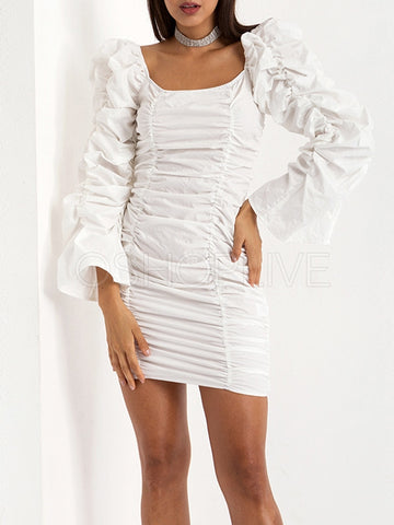 Solid Ruffled Hip-package Mini Dress