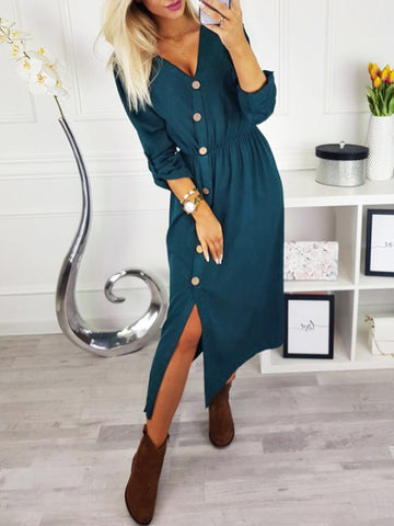 Solid Sexy Button Up Midi Dress