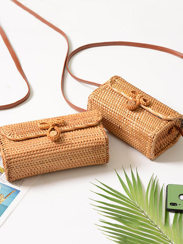 Rattan Bowknot Fresh Little Bag