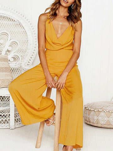 V-neck Backless Loose Solid Bohemia Jumpsuits
