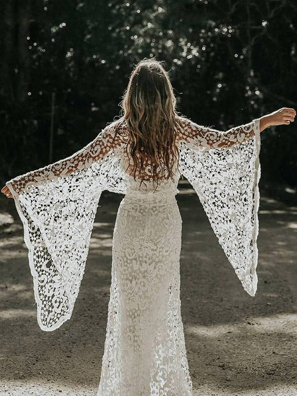 K'Mich Weddings - wedding planning - wedding dresses - two piece lace flared sleeves evening dress - oshoplive