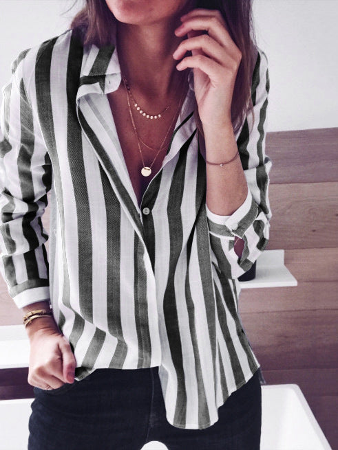 Long Sleeves Stripes Blouses&shirts Tops