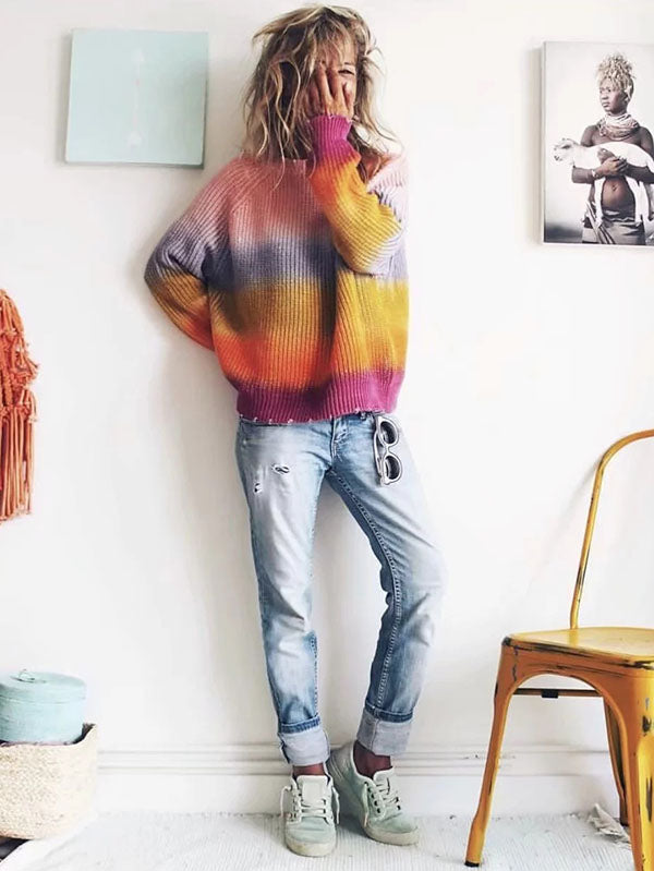 Fashion Long Sleeve Knitting Striped Rainbow Colored Sweater Tops