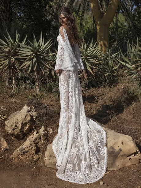 K'Mich Weddings - wedding planning - wedding dresses - White Lace-up Flared Sleeve V-back Evening Dress - oshoplive