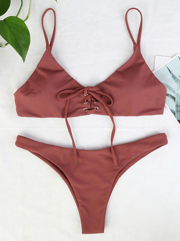 Solid Lace-Up Fashion Bikinis Swimwear