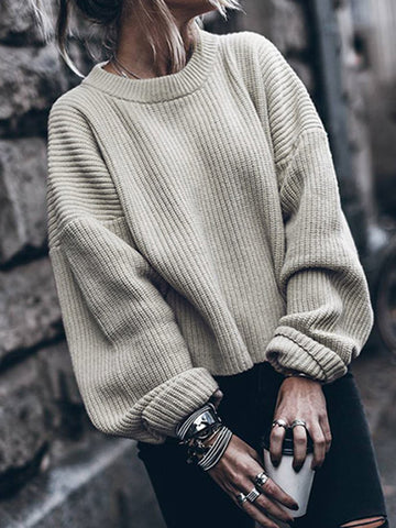 Fshion Solid Color Long Sleeves Sweater Tops