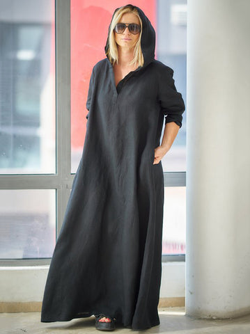 Loose Black Ramie Cotton With Hat Linen Dress