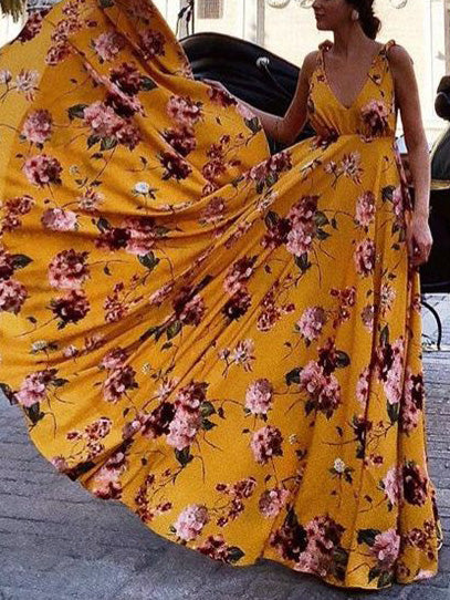 best shoes select for authentic purchase genuine Pretty Bohemia Floral V Neck Backless Maxi Dress