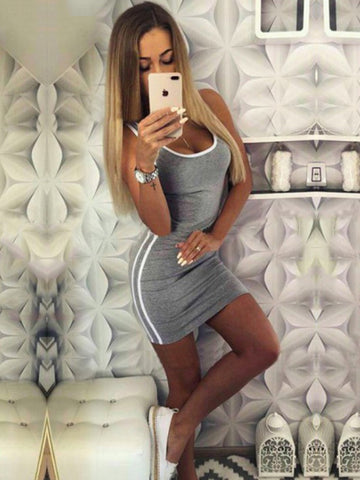 Solid Sports Sleeveless Waisted  Mini Dress