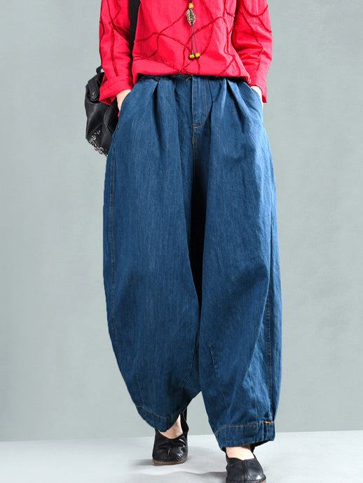 Loose Wide-leg Jean Harem Pants