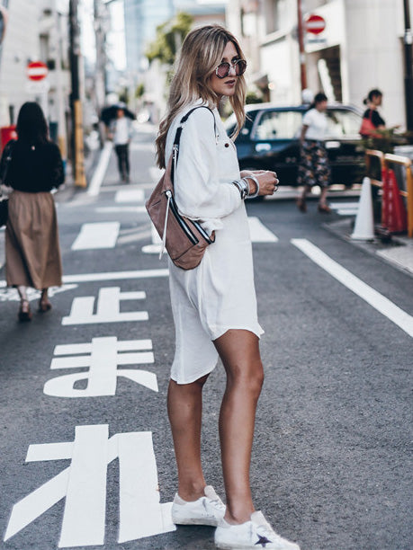 Casual White Split-Side Cover-ups