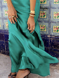 Sloid Color Spaghetti-neck Maxi Dress