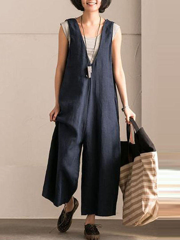 Vintage Solid Color V-neck Jumpsuits