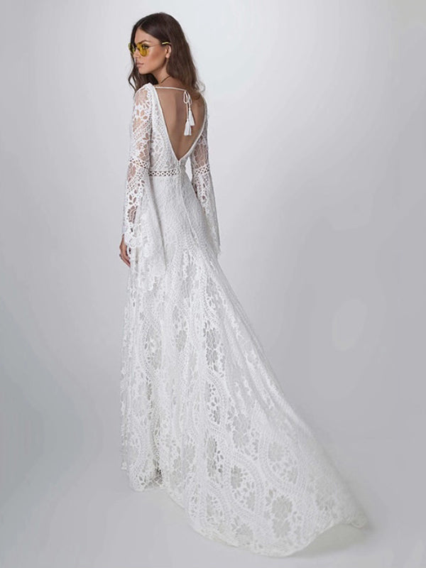 Lace Hollow Flared Sleeves Evening Dress