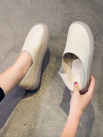 Solid Color Leather Slip-on Flat Shoes