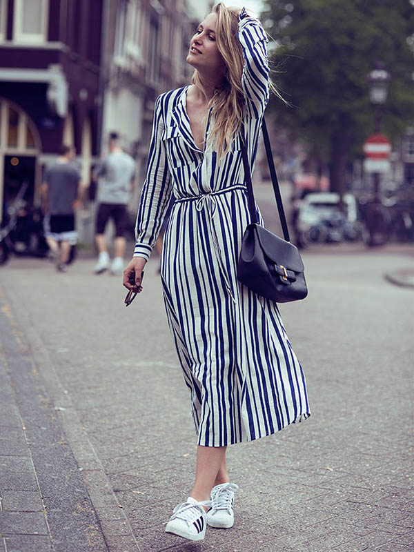 Striped Belted Long Sleeves Maxi Dress