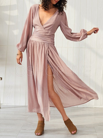 Solid Split-side V-neck Maxi Dress