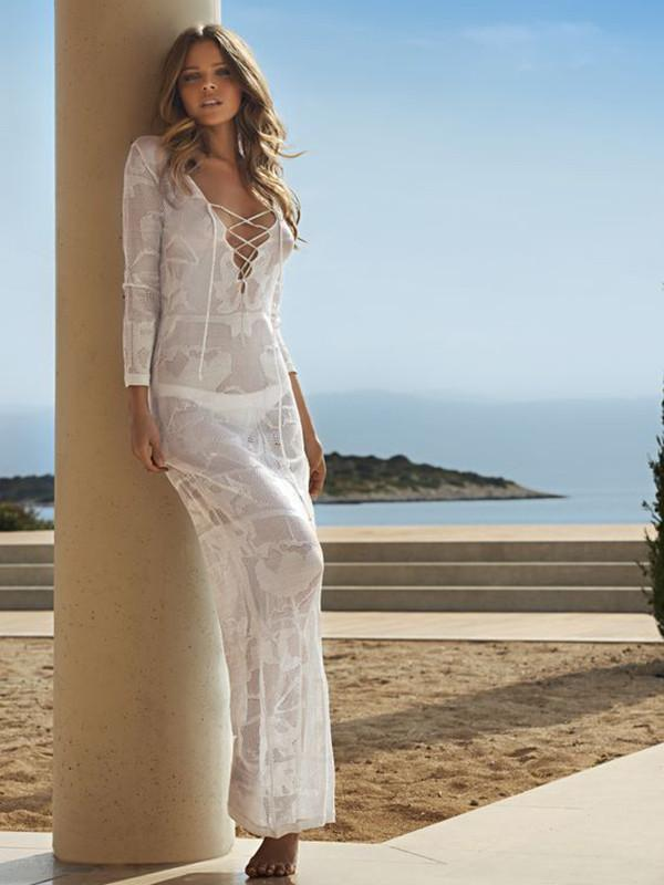 60fc8efd31b Casual Vacation Beach Lace-Up Mask Long Dress Cover-Ups – oshoplive
