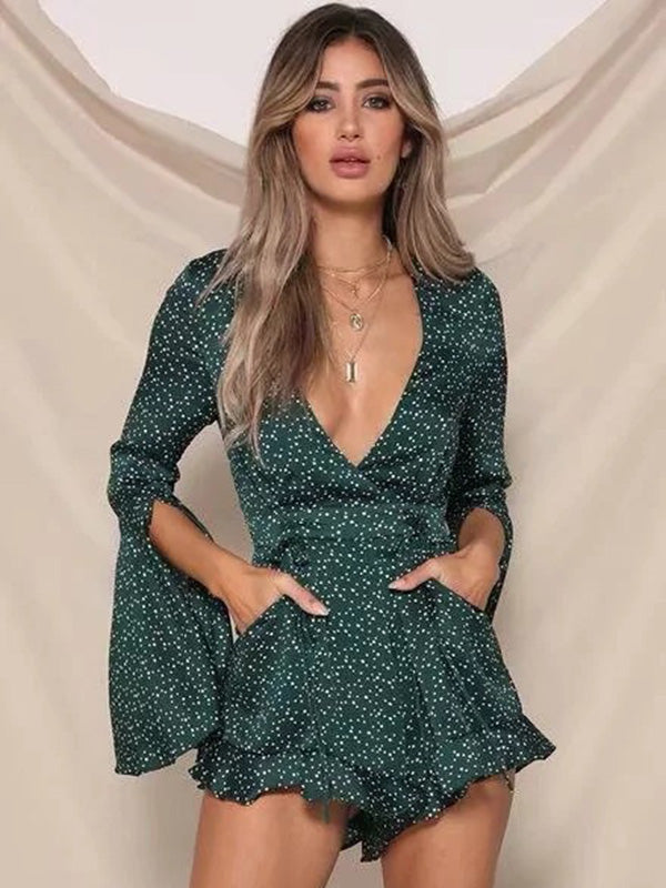Bohemia Floral V-Neck Short Jumpsuits