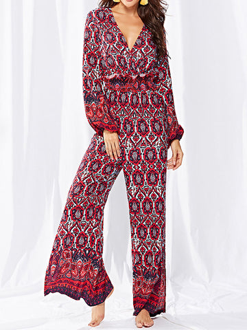 Long Sleeves Printed Jumpsuits