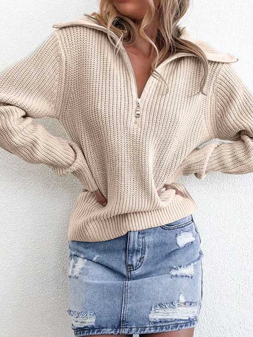 Loose Solid Zipper Knitting Sweater
