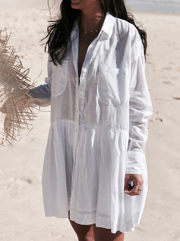 Loose Beach White Cover-ups Swimwear