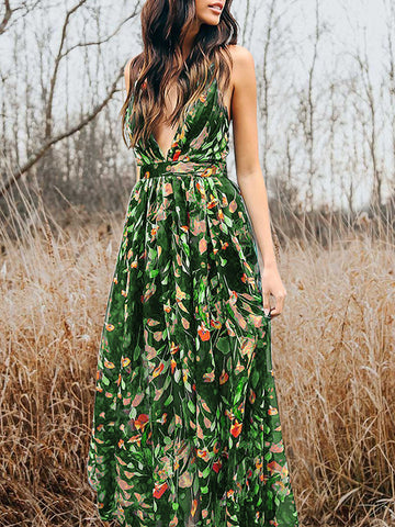 Bohemia V-Neck Backless Maxi Dress
