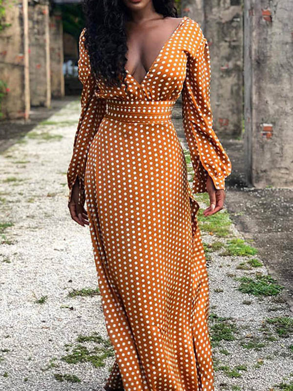 Belt Polka-dot V-neck Maxi Dress