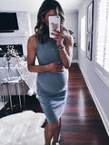 Plus Size Maternity Solid Sleeveless Bodycon Midi Dress