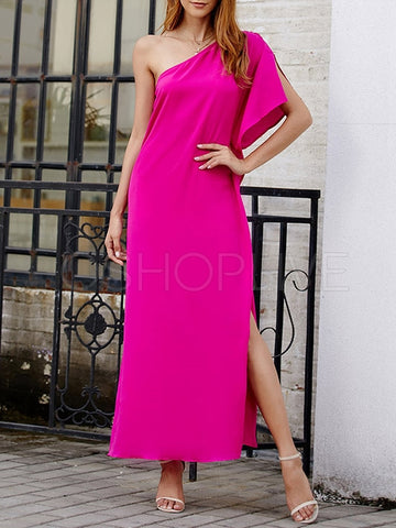 Original Solid Skew Shoulder Maxi Dress