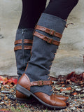 Denim Split-joint Zero Heels Boots Shoes